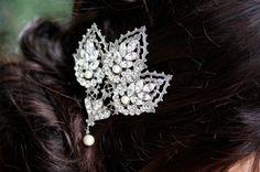 Mantilla Comb, Rhinestone Wedding Comb, Pearl and Rhinestone Headpiece, URSULA DELUXE, LuluSplendor on etsy, $89,00