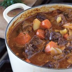 Hearty Beef Stew Recipe | Williams-Sonoma - Two things set this old-fashioned beef stew apart from its rivals: browning the beef in bacon fat and adding lots of vegetables to the pot, both of which add flavor to the velvety sauce. The result is comfort food, grandmother style. This grandmother didn't cook with wine, but if you want to, see the variation below.