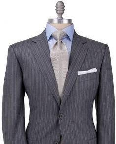 Image of Belvest Grey with Khaki Tonal Stripe Suit