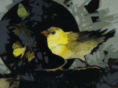 """A Bird, came down the Walk  BY EMILY DICKINSON """"A Bird, came down the Walk -  He did not know I saw - He bit an Angle Worm in halves  And ate the fellow, raw,    And then, he drank a Dew From a convenient Grass - And then hopped sidewise to the Wall  To let a Beetle pass ...""""  acrylic on panel 8"""" x 6"""" Linda Kemp Walking By, Digital Image, Beast, Original Paintings, Goldfinch, Emily Dickinson, Bird, Beetle, Artwork"""