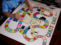 DIY Board game - could do similar version just using large tiles so kids can jump from each square to the next...hmmm