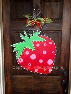 Strawberry door hanger-customize by fleurdeinspire on Etsy
