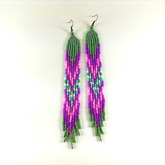Extra long earrings Seed bead earrings Very long by Galiga on Etsy