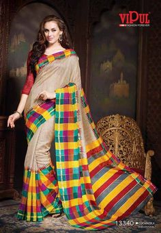 Multicolored Checked Jari Print Designed Semi Bhagalpuri Saree with Maroon Colored Blouse Part @ Rs.940 http://www.shreedevitextile.com/women/sarees/synthetic-fancy-sarees/shree-devi/multicolored-semi-bhagalpuri-saree-13340