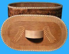 "Russian Art Natural Handmade Birch Bark Bread Box Basket ""Pine Cones ..."