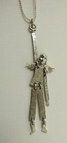 Angel Onna Is Hanging On - Up Cycled Sterling Silver, Sterling Silverware, And PMC - Women - Strength - Empowerment - Art Pendant - 1482