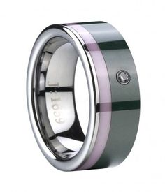 Flat Tungsten Wedding Band with pink ceramic