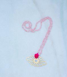 Rose Quartz sun charm necklace online now at www.ecruonline.com #ecru #necklace #rosequartz #beads #semiprecious #accessories #online