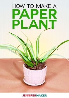 How to make an easy paper spider plant that you can't kill and will look amazing for years! This simple tutorial includes a free pattern to cut by hand or on a Cricut cutting machine. Free Paper, Diy Paper, Paper Art, Diy Retaining Wall, Paper Plants, Cricut Tutorials, Cricut Ideas, Paper Organization, Organizing
