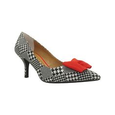 Women's J. Renee Camley Pump - Black/White/Red Houndstooth... ($74) ❤ liked on Polyvore featuring shoes, pumps, casual, ornamented shoes, j renee shoes, pointed toe pumps, red bow shoes, red pointed toe pumps and black and white pumps