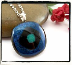 Blue and Black Dichroic Fused Pendant Silver by FashionWire, $14.99