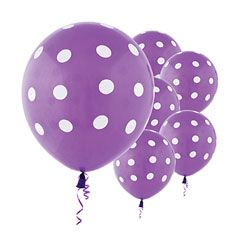 Set up for a super fun celebration and include these cute and adorable Purple Polka Dot Printed Balloons. These latex balloons feature a solid color with all around white polka dots. Details: when fully inflated 6 per package Latex