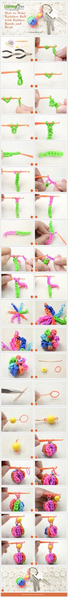 How to Make Rainbow Ball with Rubber Bands and Bead … Rainbow Loom Tutorials, Rainbow Loom Patterns, Rainbow Loom Creations, Rainbow Loom Bands, Rainbow Loom Charms, Rainbow Loom Bracelets, Loom Band Bracelets, Rubber Band Bracelet, Diy Bracelet