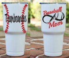 Baseball Mom Powder Coated Tumbler- baseball infinity