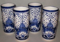 Mexican Pottery- LG Talavera Drinking Glasses / SET OF 4