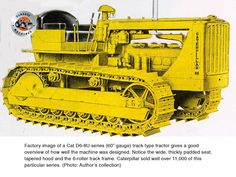 Factory image of Cat shows off her design features rather well. Wide seat, tapered hood and six roller track frame. Caterpillar Bulldozer, Caterpillar Equipment, Antique Tractors, Old Tractors, Earth Moving Equipment, International Tractors, Tonka Toys, Crawler Tractor, Weights