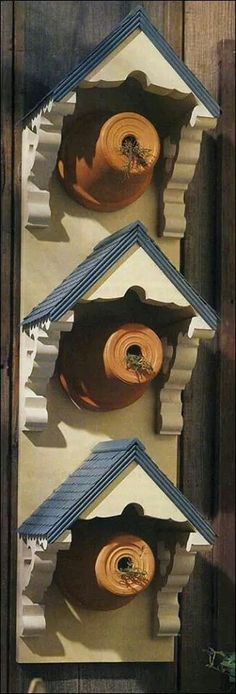 Recyled clay pots make great bird houses