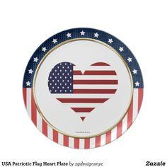 USA Patriotic Flag Heart Stars and Stripes Plate. #USA #American #Patriotic #Military #Plate