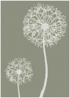 Muted Dandelions - a Counted Cross Stitch Pattern .I'd love this as a canvas print Cross Stitch Love, Cross Stitch Needles, Cross Stitch Flowers, Cross Stitch Charts, Cross Stitch Designs, Cross Stitch Patterns, Cross Stitching, Cross Stitch Embroidery, Diy Bordados