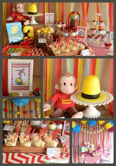Curious George Party/ cake, banana pudding, sweets/ dessert table