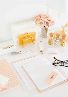 White + Blush Desk