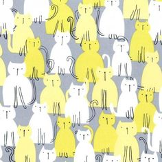 Michael Miller Fabric {by the yard} Here Kitty Kitty Citron Textures Patterns, Fabric Patterns, Print Patterns, Cat Background, Cat Fabric, Animal Magic, Michael Miller Fabric, Cat Pattern, Here Kitty Kitty