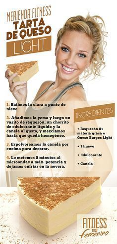Receta Tarta de Queso Light - Merienda Fitness en Femenino Más