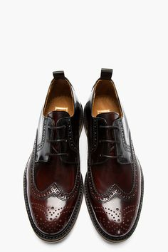 2f12485f6ad AMI Brown Bicolored Glazed Leather Wingtip Brogues Mens Shoes Boots