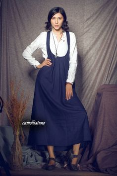 Linen Halter Dress in Navy / Long Halter Sundress  by camelliatune, $74.00