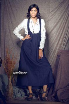 Linen Halter Dress in Navy / Long Halter Sundress  by camelliatune, $74.00