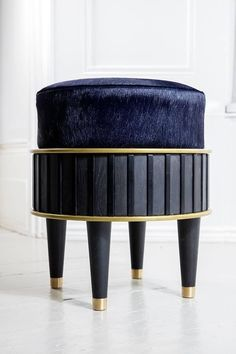 Bisi stool in blackened oak and upholstered with blue hair on cowhide - Collaboration between London based interior designer Rebecca James and artisan Andrea Felice, creating a collection of designs inspired by Art Deco and mid-century Italian design. Art Deco Furniture, French Furniture, Cool Furniture, Modern Furniture, Furniture Design, Steel Furniture, Bedroom Furniture, Blue Dining Room Chairs, Shabby Chic Table And Chairs