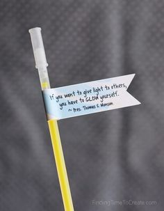 Girls Camp Pillow Treats - Glow Stick with Quote