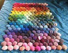 I'm declaring this project done, eeven though onlya few puffs are connected. I've put the sorted puffs in storage, pending renewed interest. 4/15/13 -- cast on my last hexipuff today! ...