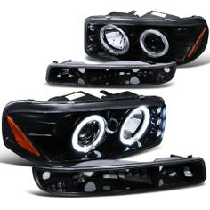 Gmc Sierra Sl Sle Denali Proj Halo Led Headlights , Bumper Lights Smoke Brand new in original box, never been tried on & used. Exactly same as picture !. Made by approved & certified manufacturers with materials that meet or exceed road use regulations. 30 Days money back guarantee & 90 Days Limited Warranty.  #Spec-D_Tuning #Automotive_Parts_and_Accessories