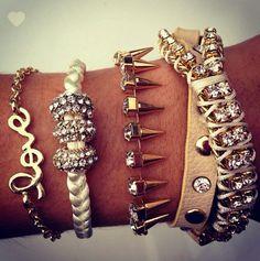 Love, spikes, rhinestones and leather wrap bracelets
