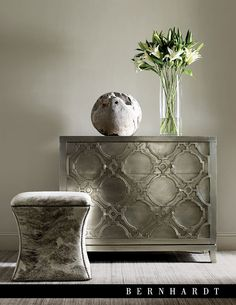 Love these metallic and grey pieces by Bernhardt
