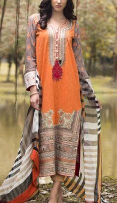 Orange Embroidered Cotton Lawn Dress