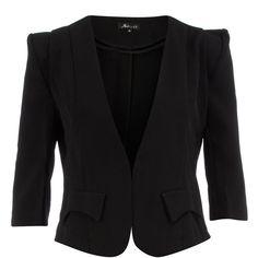 Black 3/4 sleeve blazer ($55) ❤ liked on Polyvore featuring outerwear, jackets, blazers, coats, black, black blazer, cropped jacket, cropped blazer, 3/4 sleeve blazer and three quarter sleeve jacket