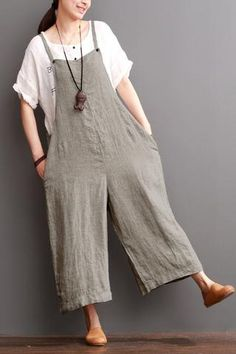 Cotton Linen Sen Department Causel Loose Overalls Big Pocket Trousers Women Clothes From the design to tailoring,the whole overalls is so simply and comfortable,It is so classical that you can wear it Trousers Women, Pants For Women, Clothes For Women, Overalls Women, Casual Dresses For Women, Casual Outfits, Casual Clothes, Dress Casual, Linen Dresses