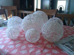 Yarn balloons in white