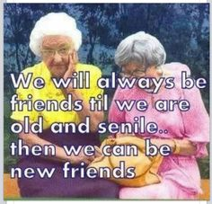 We will always be friends till we are old and senile then we can be new friends.  : ) So cute.