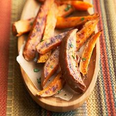 These sweet potato fries are a lower-fat alternative to traditional fries. Try them as a side dish for hamburgers or grilled chicken or pork sandwiches.