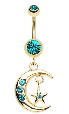 Golden Colored Moon and Star Belly Button Ring - 14 GA (1.6mm) - Teal - Sold Individually