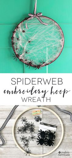 Make this simple Halloween Spiderweb wreath with a wooden embroidery hoop in only 15 minutes! Get the tutorial and more Halloween decor ideas here. Halloween with Kids Halloween Mignon, Soirée Halloween, Adornos Halloween, Manualidades Halloween, Halloween Projects, Diy Halloween Decorations, Holidays Halloween, Halloween Wreaths, Halloween Labels