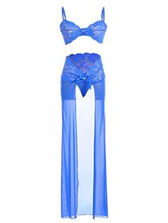 AnnaKaci Womens Blue Sheer Lace Lingerie Skirted Bow Thong Underwear Bra Set * Find out more about the great product at the image link.