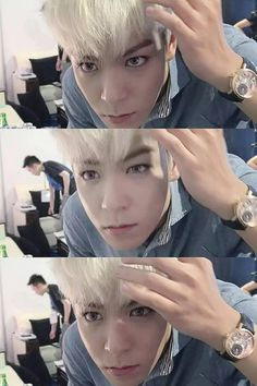 TOP - aaaah I thought he had purple eye contacts in awesome (Top Bigbang Pink Hair)