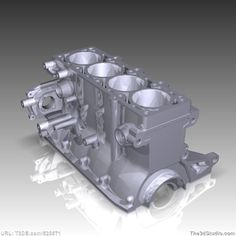 4 cylinder engine block - Print ready printable royalty free 3d computer model – EXCLUSIVE product available only at The3dStudio.com, the oldest and largest 2D and 3D resource site on the internet. Fast and personal customer service from our own support staff 7 days a week—no autoreply or canned responses.