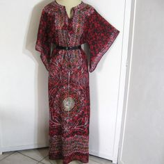 60s 1960s Vintage Dashiki Maxi Dress Embroidered Red Cotton Gauze Bell Sleeve Bust up to 38. $34.00, via Etsy.