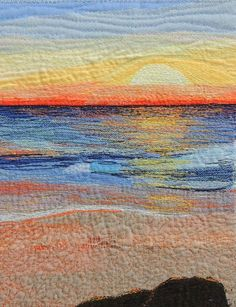 """Early Riser"" Textile Art Quilt, thread painted, stitched @Bekahdu #quiltart"