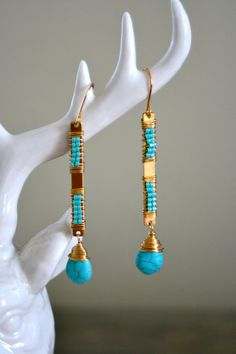 WRAPPED TURQUOISE EARRINGS by MadMadeMetals on Etsy, $40.00